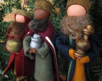 Handmade Christmas Ornament - Clothespin, Three Wise Men, Magi, Nativity, Made to Order