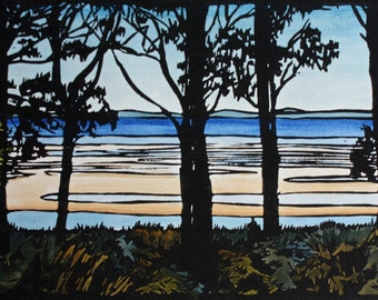 Ten Trees Linocut, Landscape Lino Print, Beach Scene Linocut Print,