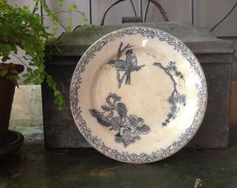 French Pottery Blue Plate 1800s Birds Floral Transferware Granite Ironstone French Farmhouse