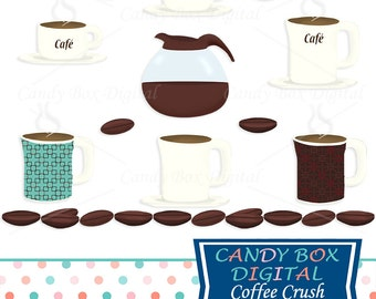 Coffee and Coffee Bean Clipart, Coffee Cup and Coffee Pot Clip Art - Commercial Use OK