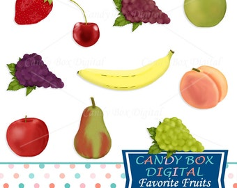 Fruit Clipart - Pear, Grape, Peach, Banana, Strawberry, Apple Clip Art - Commercial Use OK