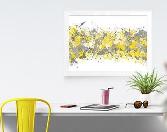 Grey Yellow Abstract Watercolor Print, Office Decor, Gray Grey Modern Wall Print, Printable Mustard Gray Home Wall Art, INSTANT DOWNLOAD