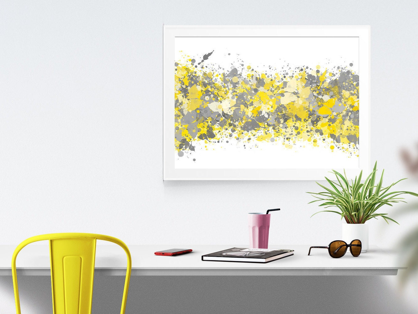 Grey yellow abstract watercolor print office decor gray grey - Yellow and grey home decor ...