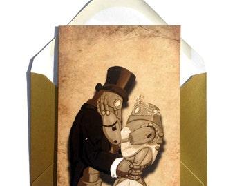 Dieselpunk Wedding Card,  Steampunk Robot Card, Robot Wedding, Dieslpunk Wedding, Bride and Groom, sci-fi wedding, getting married