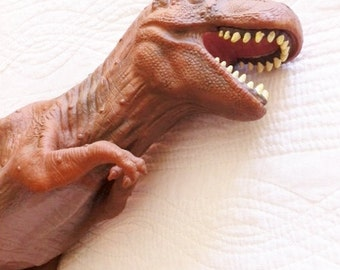 Vintage Sienna Brown Rubberized Tyrannosaurus Rex Dinosaur Toy, Olives and Doves