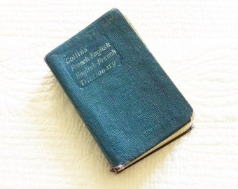 Vintage Collins French-English Dictionary, 1958 Publication, Olives and Doves