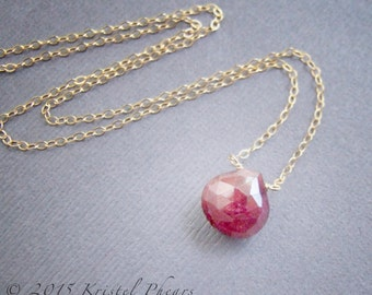Genuine Ruby Necklace - July Birthstone Gift, natural ruby, red solitaire statement necklace, choker, pendant, eco-friendly gold or silver