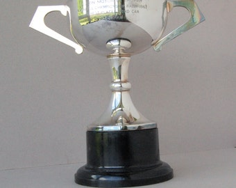 Large silver plated sports trophy, Rally driving cup, Luton Motor Co Trophy, Ford Vauxhall Championship Rally 1967, Vintage home decor