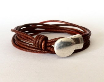 Wrap bracelet,  button clasp bracelet, leather bracelet for men,  leather bracelet, women bracelet, silver brown bracelet, Hook clasp