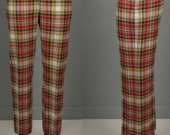 "Vintage Mens 1960s Trousers -- NOS Deadstock Wool Blend Plaid Pants by Ruggles -- 33"" Waist"