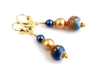Blue and Gold Beaded Dangle Earrings, Beadwork Earrings, Gifts, Fashion Jewelry, Wedding Jewelry, Career Wear, Casual Wear