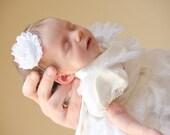 White Baby Headband, Baptism Headband, Christening Headband, Infant Headband, Baptism Headband, Dedication Headband, Baptism, White Headband