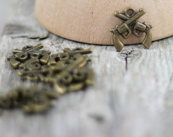 Crossed Pistols Charm - Double Gun Charms - Antique Bronze - 8 Charms