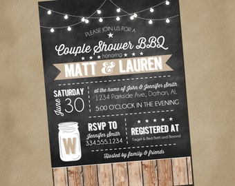 Couple Shower BBQ Wedding Invitation | Country Barbeque Couple Shower Invitation | Mason Jar Invitation | Digital Invitation