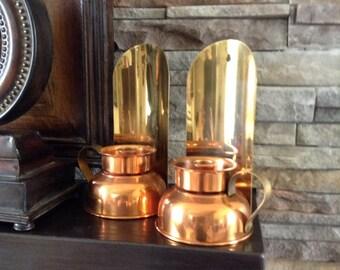 Copper Candle Sconces - Pair Copper Brass Candle Holders - Copper Candlestick - Colonial Rustic Decor - Colonial Copper - Primitive Decor