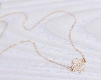 Clover necklace, Gold filled necklace, Gold layered necklace, Four Leaf Clover necklace, Wedding necklace, Long clover necklace | Limnaee