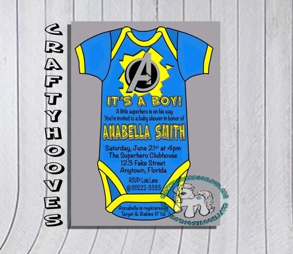 superhero avengers blue grey baby shower it 39 s a boy party invitations