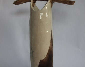 Ceramic soft white crackle glaze 'Pail' / Vase with wooden handle