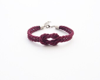 Crimson tie the knot bracelet - bridesmaid bracelet - sailor knot bracelet - nautical bracelet -nautical jewelry