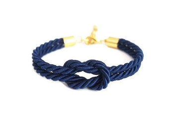 Will you be my bridesmaid gift  - knot rope bracelet in navy - rope bracelet - beach wedding - tie the knot bracelet - nautical wedding gift