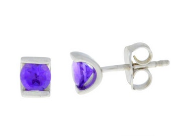 0.50 Ct Natural Amethyst Stud Earrings .925 Sterling Silver
