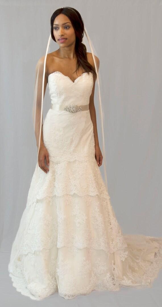 Couture bridal veil, ribbon edge veil, chapel length, Audrey