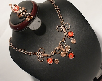 Coral Jewelry Set / Copper Jewelry / Coral Necklace & Ring / Wire Wrapped Jewelry Necklace / Wire Wrap Jewelry / coral jewellery