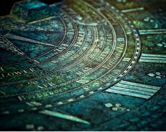 Sun Dial Photograph, Father Time, England, Oxydized Copper Metal, Abstract Photography Print.