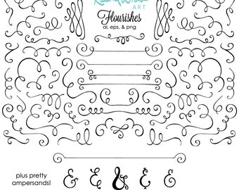 Flourishes and Ampersands Vector Illustrations - 48 images -  AI EPS PNG - Instant Download