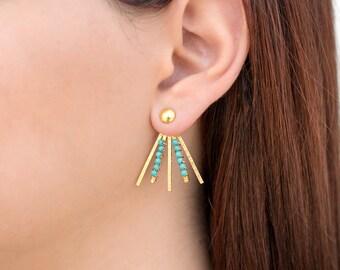 Bohemian earring jackets, turquoise earrings, statement earrings, boho earrings, ear jacket earrings, gift for her, front back earrings