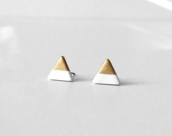 WHITE Gold Dipped Triangle Stud Earrings / Simple Light Wearing / Amoorella Jewelry