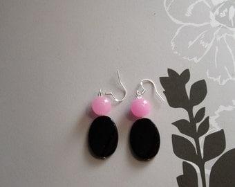 Bubblegum Pink and Black Earrings