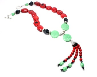 Long Statement Necklace - Chunky Gemstone Necklace - Red Green Black Bold Statement Necklace - Colorful Necklace - Statement Jewelry