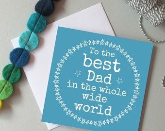 Father's day card for Dad. Card for Daddy. Modern blue Father's day card. Birthday card for Dad or Daddy.