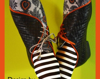 """Leather oxfords, Tie shoes, Lace ups """"OBLIQUE"""" - Model BUTTERFLY"""