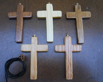 Five Wood Cross Necklace (j)
