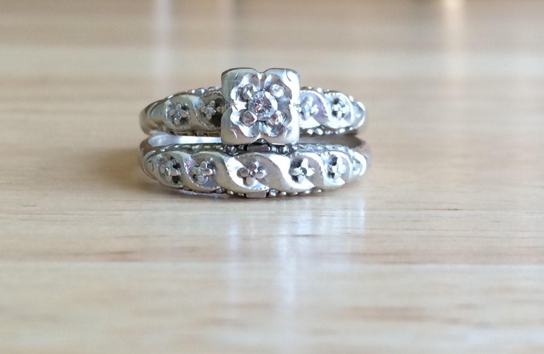 Art Deco Diamond Engagement Ring Set Vintage 14kt White Gold