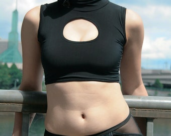 Deepspace Cadet Swim Top, Futuristic, Health Goth, Cyberpunk, Seapunk, Crop top, Cutout