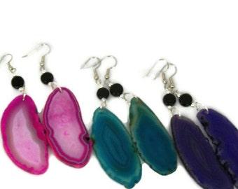 Colorful Geode Stone Dangle Earrings in Magenta, Teal, or Purple