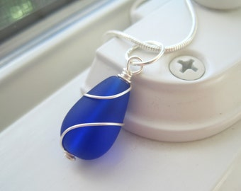 Cobalt Blue Necklace - Cultured Sea Glass Jewelry - Bridesmaid Necklace - Pendant Necklace - Wire Wrapped - Blue Glass  - Royal Blue Jewelry