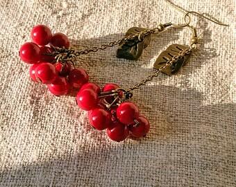 Viburnum earrings Guelder rose Red berries jewelry Folk beautiful earrings Czech glass beads Dangly folk boho Gift idea Summer gift for her