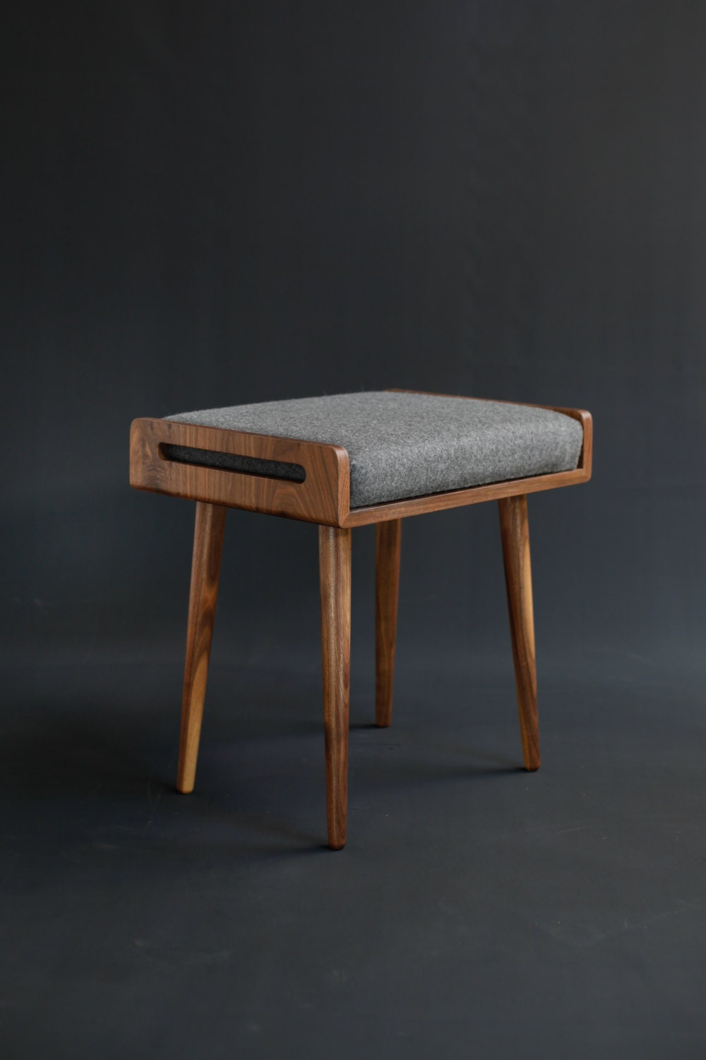 Stool Seat Ottoman Bench In Solid Walnut Board