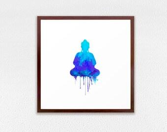 Framed Art Print, Blue Buddha art print, zen aquarelle home decor, GICLEE PRINT on canvas, blue cyan meditating wall art decoration