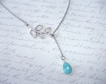 Turquoise drop lariat necklace with silver branch