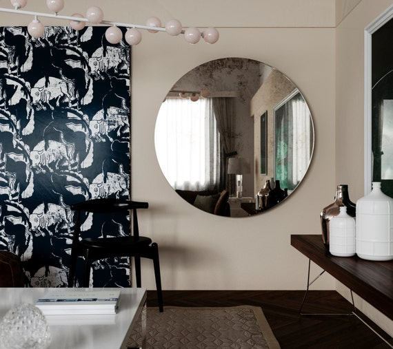 Antique mirror round frameless mirror modern inspired glass for Miroir sans cadre