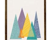 Mountains 1. Geometric art Mid-century print geometric print triangles print mountains print mountains poster Retro wall art nursery print