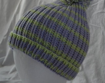 Lilac and Light Lime Striped Ribbed Stocking Cap with Pom-Pom