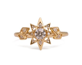 Art Deco Star Engagement Ring, Unique engagement ring, 18K Gold Star ring, unique engagement ring, game of thrones jewelry, halo ring