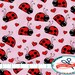 LADYBUG Fabric by the Yard, Fat Quarter PINK & RED Fabric Hearts Fabric Insect Fabric 100% Cotton Fabric Quilting Fabric Apparel Fabric t6-1