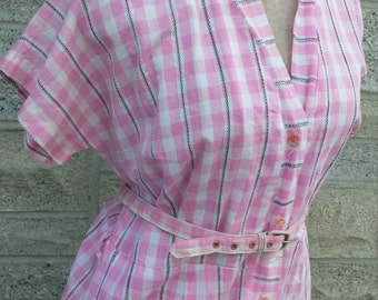 True Vintage 50s Pink plaid dress